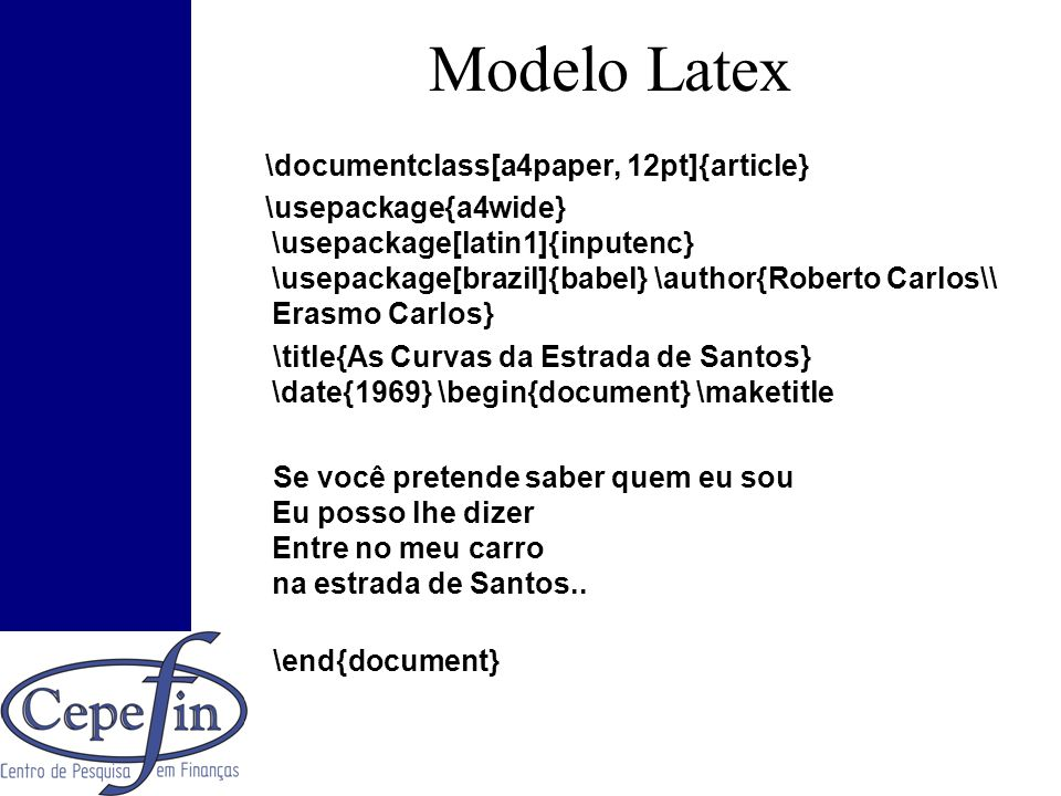 Modelo Latex \documentclass[a4paper, 12pt]{article}